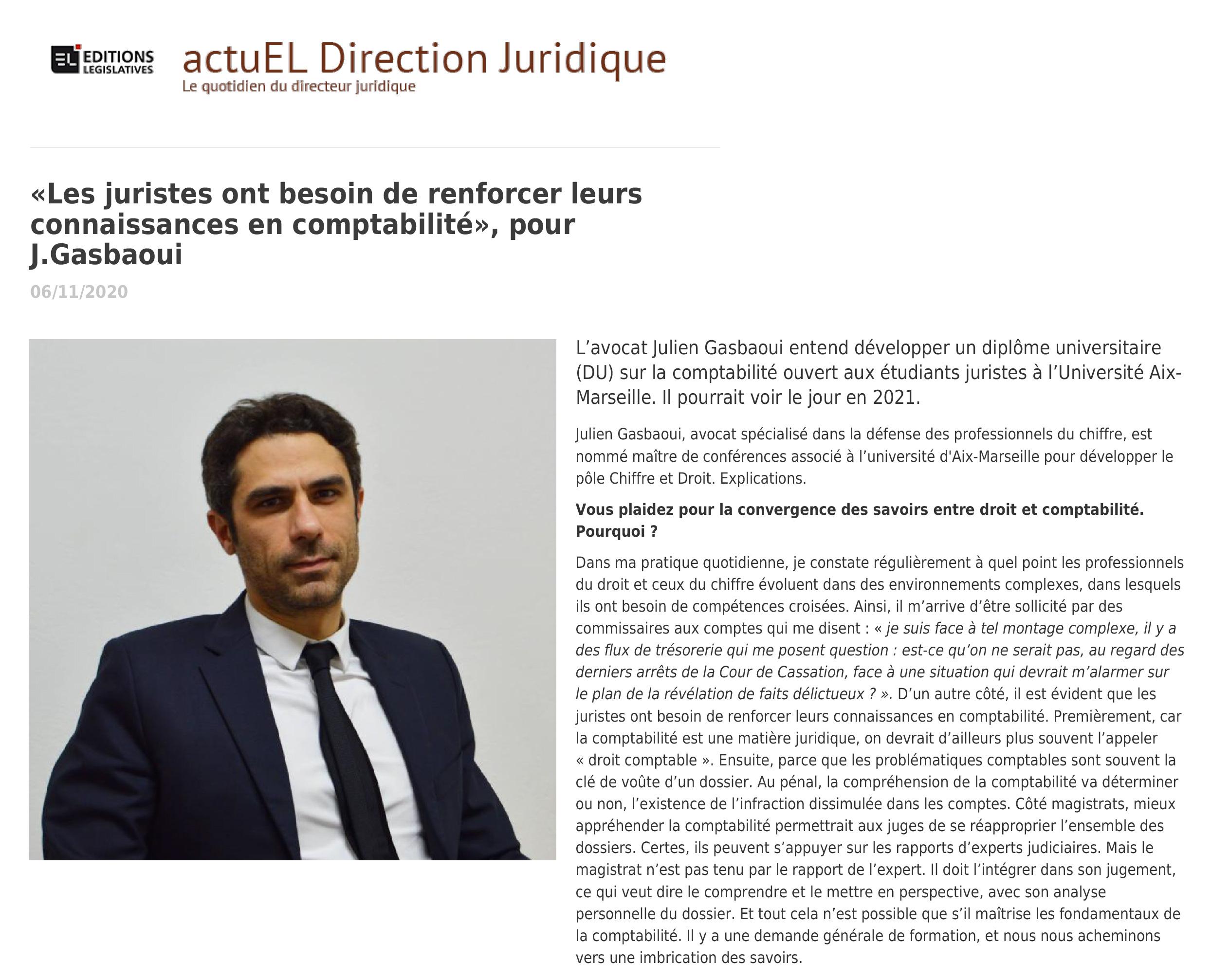 Julien Gasbaoui - Les juristes ont besoin de renforcer leurs connaissance en comptabilité