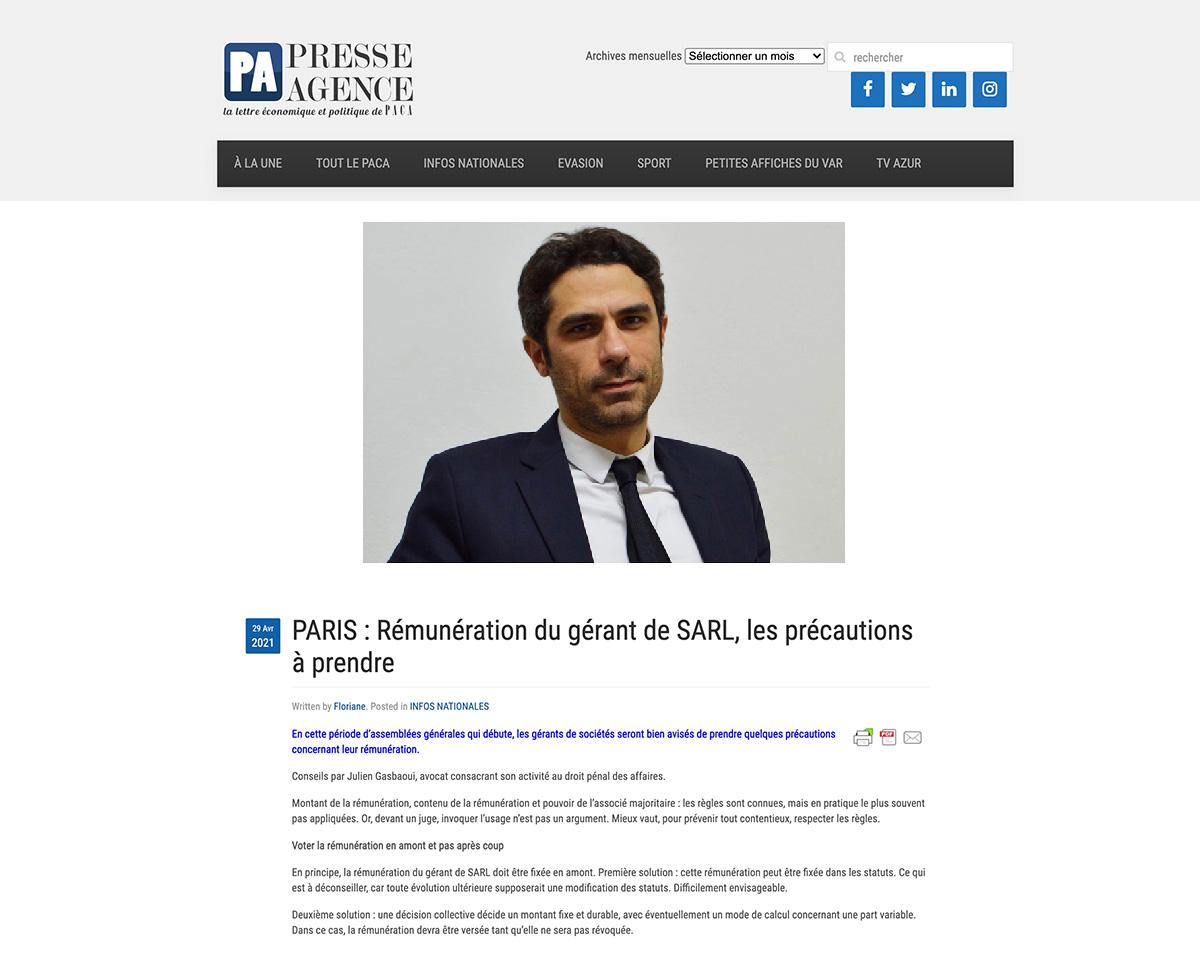 Gasbaoui Avocats - Presse Agence